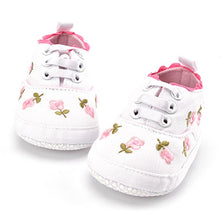 Load image into Gallery viewer, White Lace Floral Embroidered Shoes