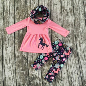 Unicorn Long Sleeve Tops And Floral Pants