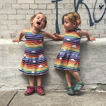 Load image into Gallery viewer, Girls Dinosaur and Rainbow Print Dress