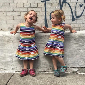 Girls Dinosaur and Rainbow Print Dress