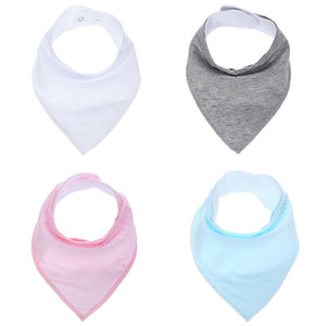 4 Piece Solid Color Bandanna Bib