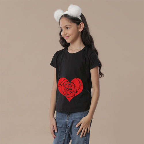 Rose Heart Top For Girls