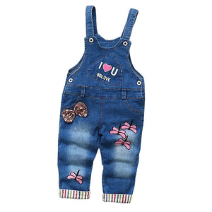 Girls Decorative Jean Overalls