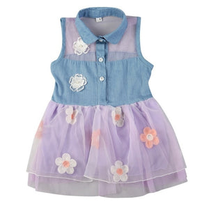Girls Denim Top Tutu dress