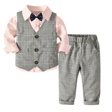 Load image into Gallery viewer, 4PC Toddler Gentleman Vest T-Shirt Pants and Bow Tie