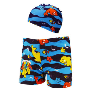 2Pc Boys Swim Trunks and Hat