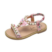 Load image into Gallery viewer, Girls Pearl Roman Sandals