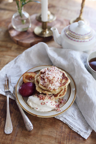 "These mouthwatering pancakes get even more tasty if you combine them with Caroline's suggestion of sides. ""Peel some pears and cook on medium heat with vanilla sugar. Serve it with ricotta on the side that you mix with some lemon zest"". Yum!"