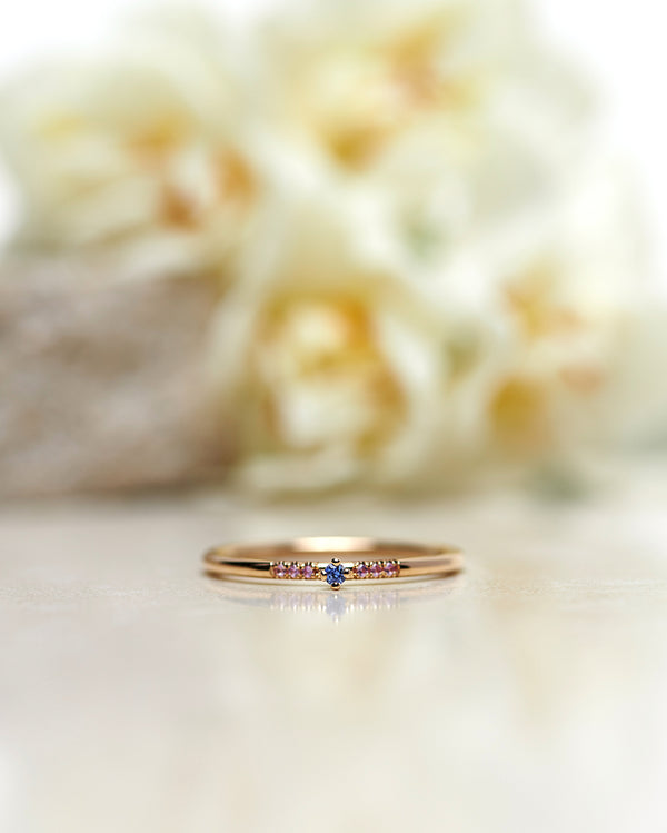 Finished: Tiny Little Sparkle Ring with a Light Blue Sapphire and Light Pink Sapphires