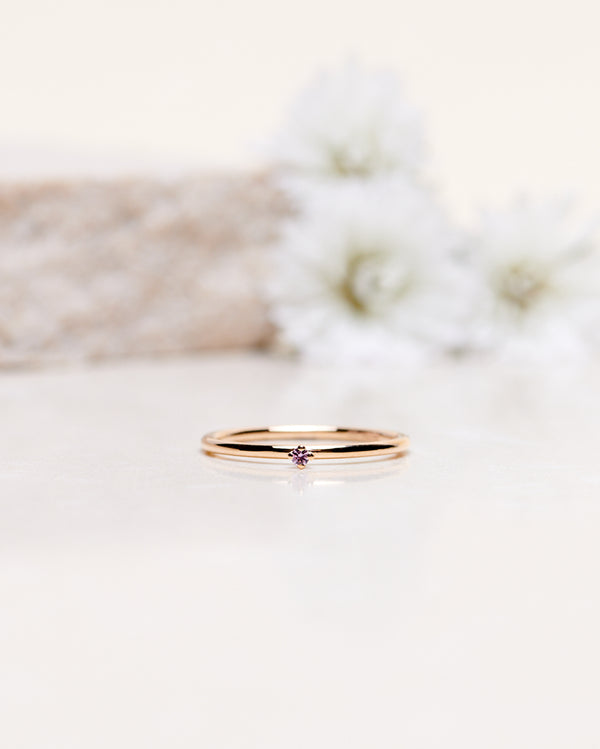Finished: Tiny Diamond Ring With Light Pink Sapphire