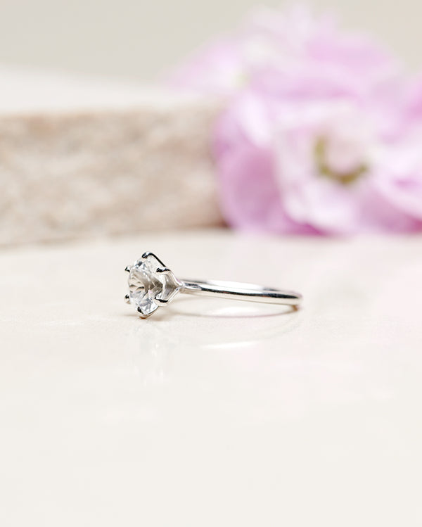 Finished: 1.3 CT White Topaz Solitaire Ring