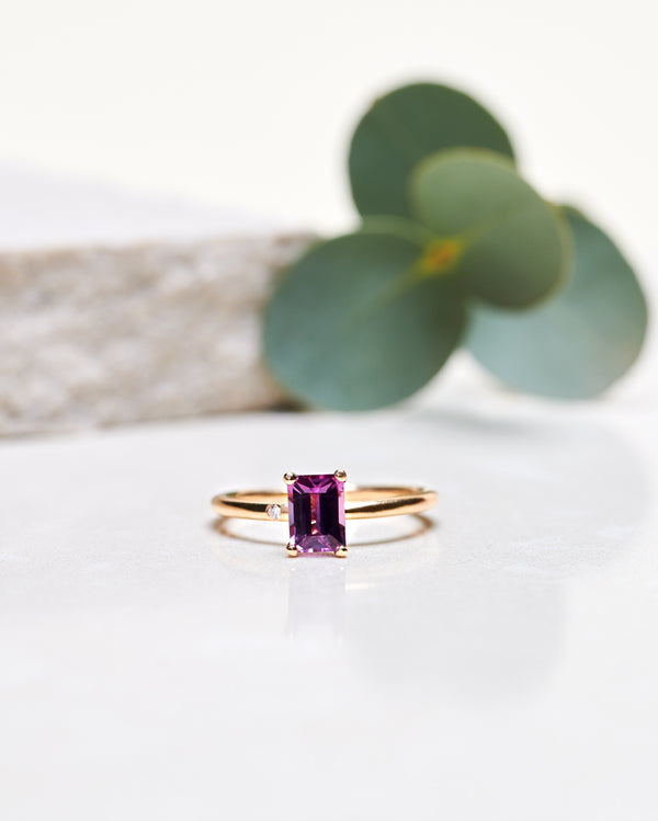 Start Bidding: Unique Princess Lucy Ring with Rhodolite Garnet
