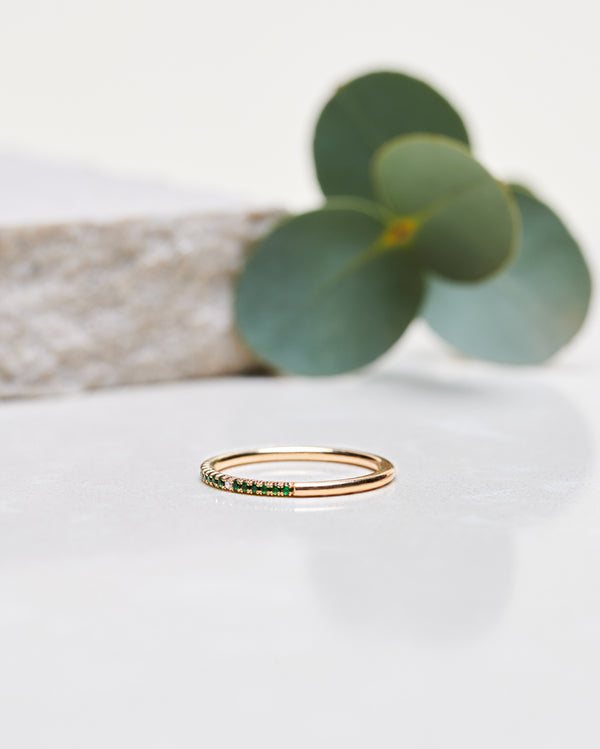 Finished: Jade Petite Half Ring with Green Tourmalines
