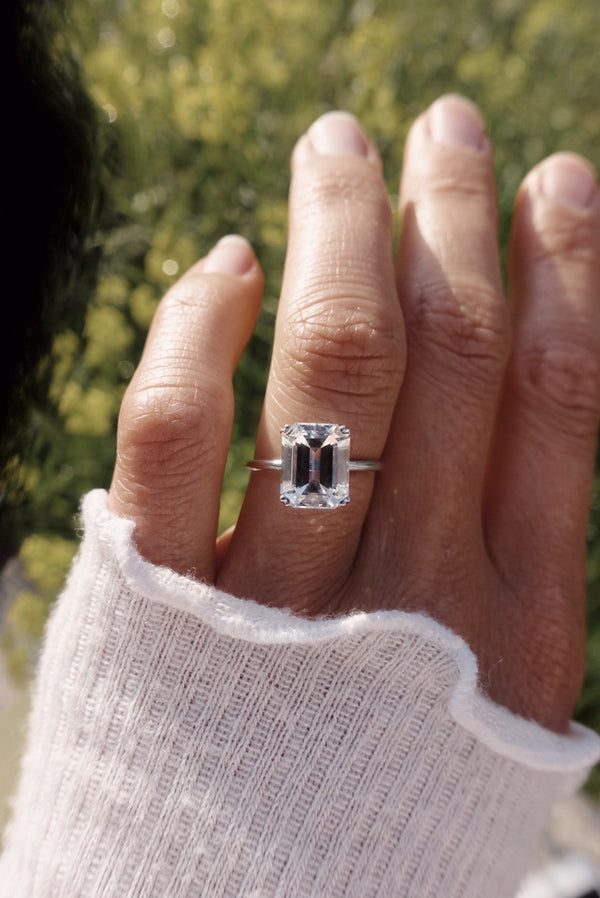 Finished: 3.04 CT White Aquamarine Emerald-Cut Solitaire Ring (Brand New)