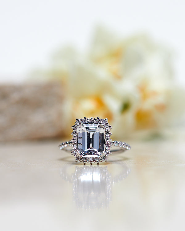 Finished: Emerald-Cut Diamond Halo Solitaire with Topaz and Brilliant Band (4.54 CT)