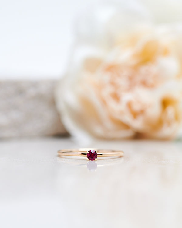 Finished: New Model! Not So Tiny Diamond Ring with a Red Ruby - Low Setting