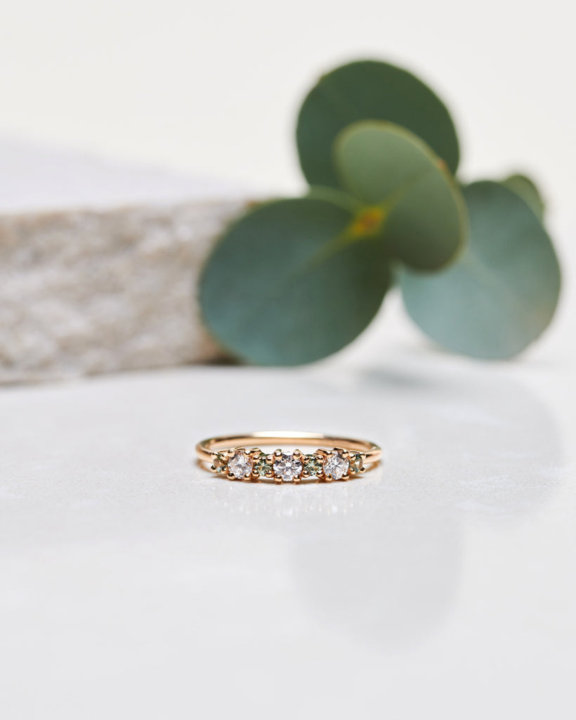 Finished: Brigitte Ring with Diamonds and Olive Green Sapphires