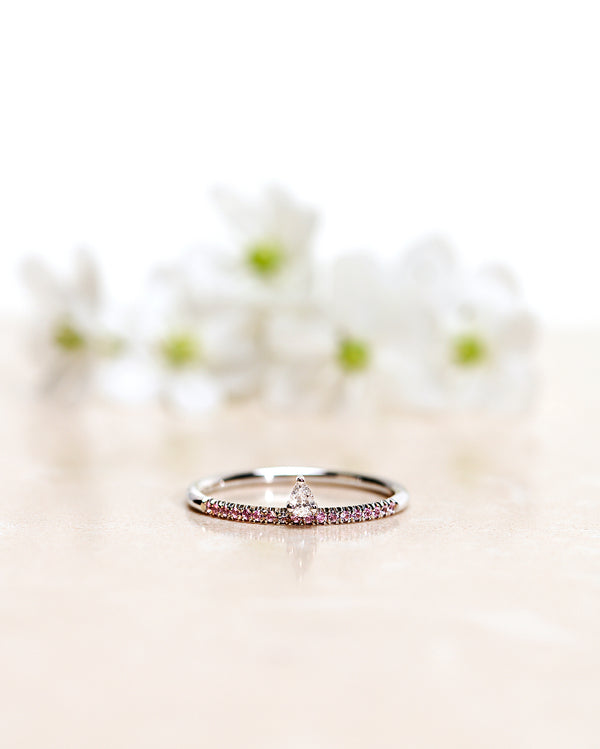 Finished: Lily Tiny Diamond Drop Ring in White Gold with a Diamond Drop and Light Pink Sapphire Row