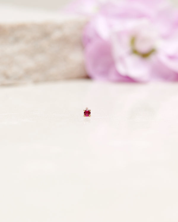 Finished: Tiny Diamond Earpiece With A Red Ruby (single)