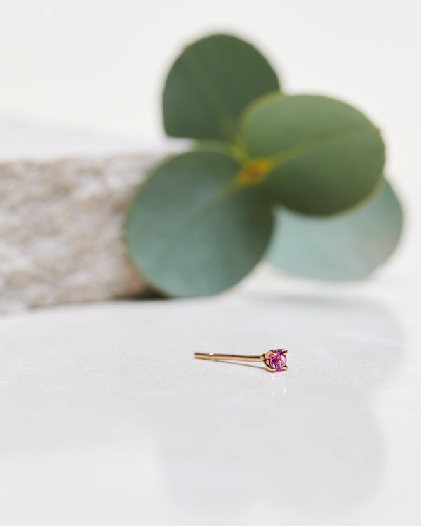 Finished: Hot Pink Sapphire Earstud 2,5 mm (single)