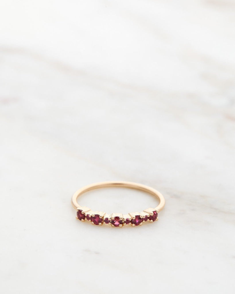 Mini Brigitte Ring with red rubies
