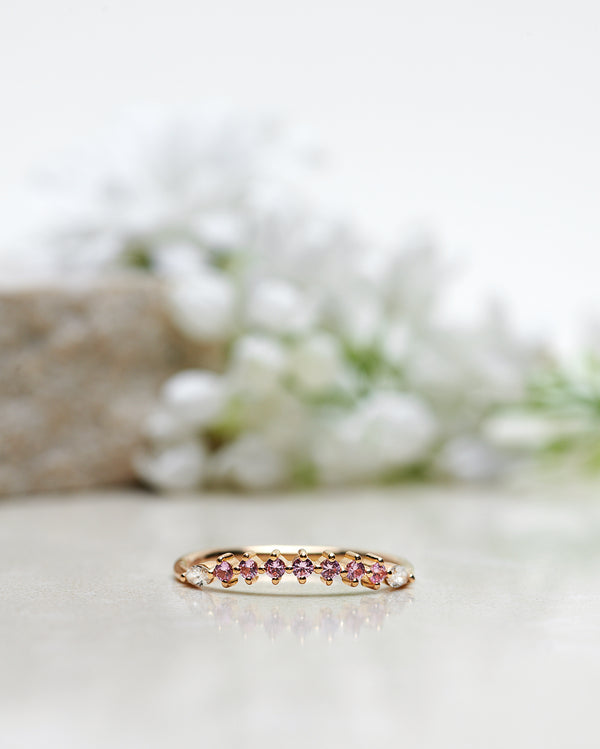 Finished: Idun Diamond Band with Light Pink Sapphires and Marquise Cut Diamonds
