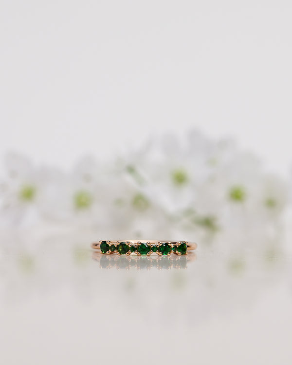 Finished: Mini Brigitte Ring with Dark Green Tourmalines