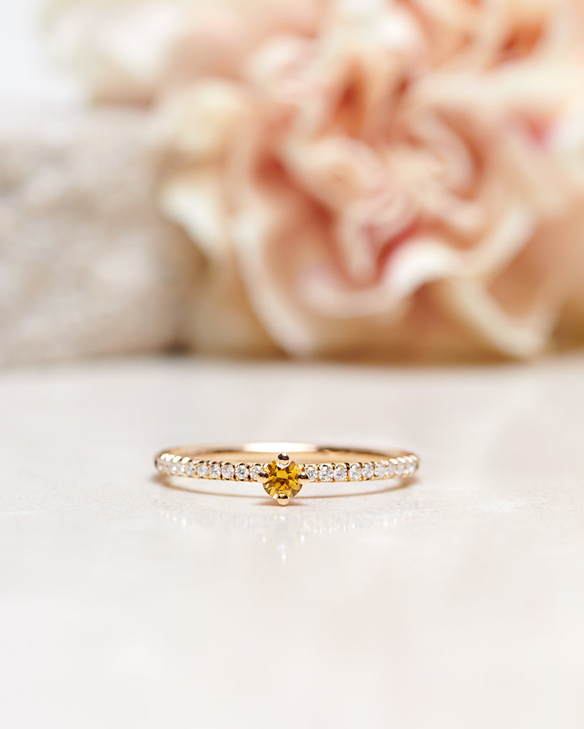 Finished: Not So Tiny Sparkle Ring with Yellow Sapphire and Diamond Sparkle