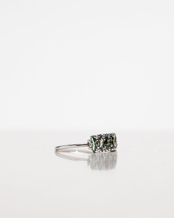 One-Of-A-Kind Art Deco Diamond Ring with Marquise-Cut Olive Green Sapphires and Brilliant Diamonds (Total 1.38 CT)