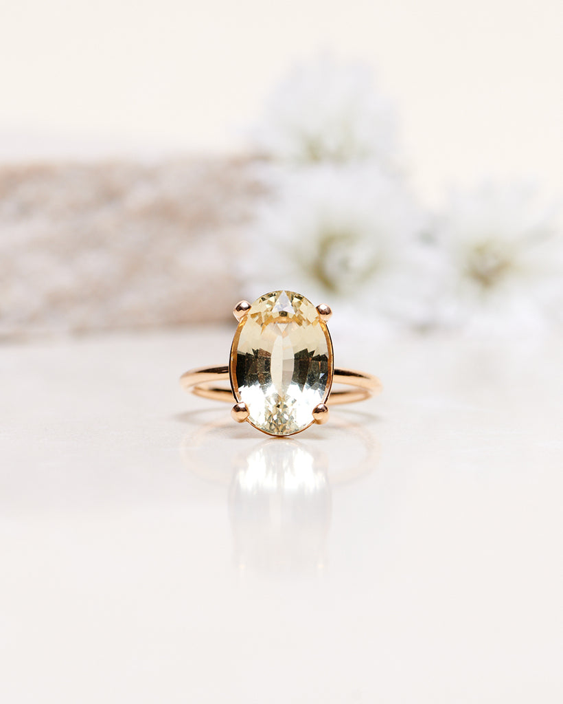 One-Of-A-Kind Oval Solitaire with a 6.11 CT Heliodore