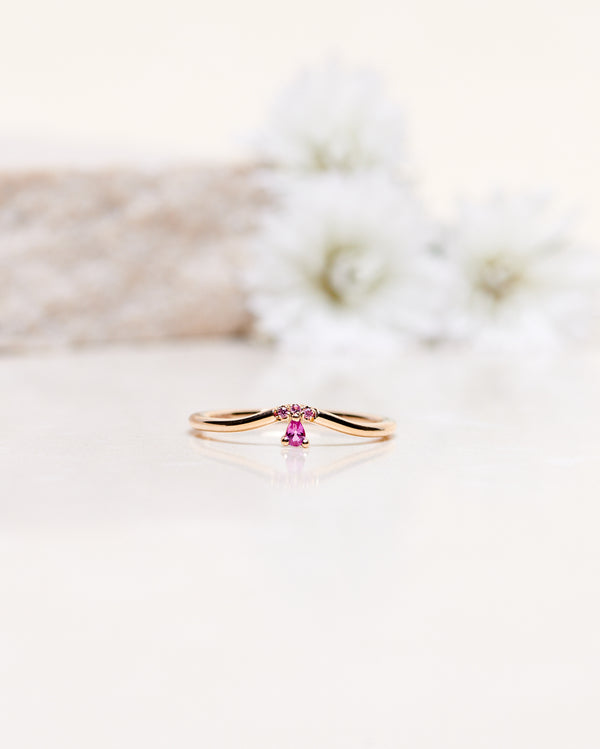 Finished: Lily Fallen Drop Ring With Hot Pink Sapphire Drop and Pink Sapphires