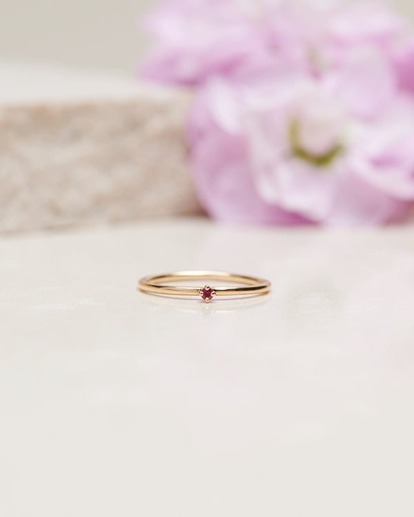 Start Bidding: Tiny Diamond Ring with Red Ruby