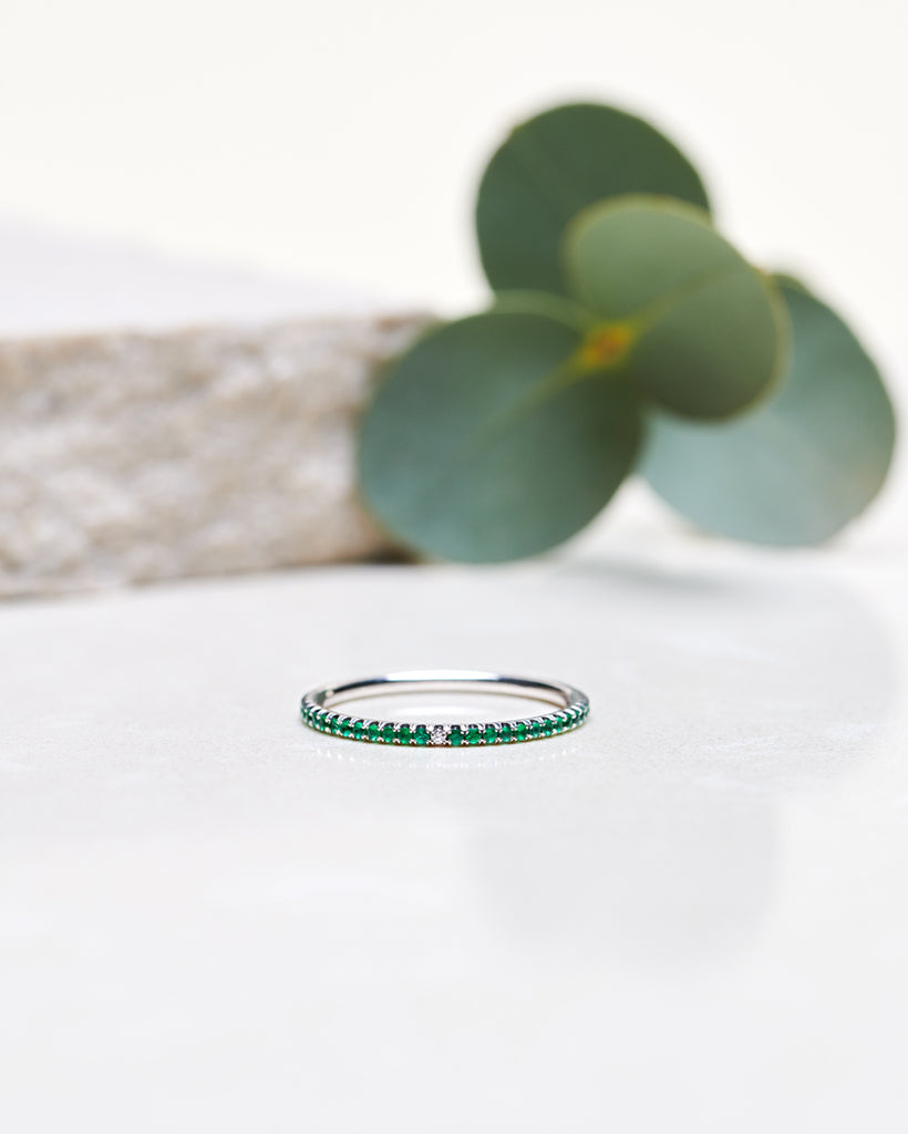 Finished: Jade Petite Ring with Green Emeralds in White Gold