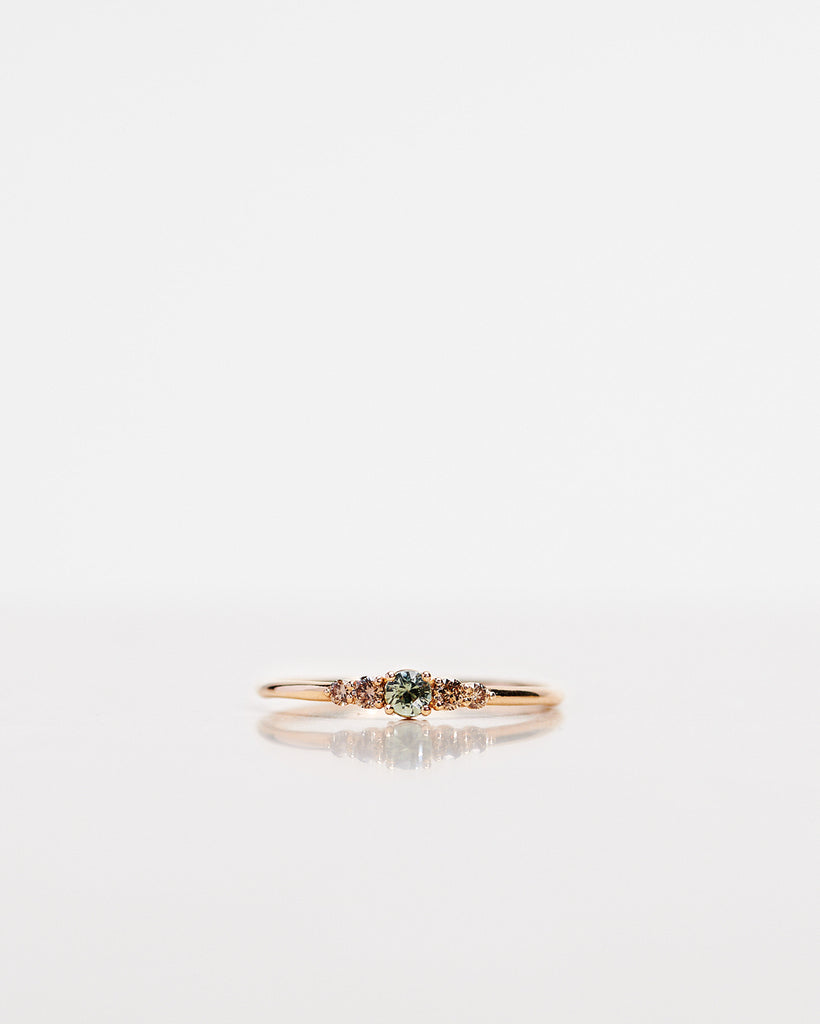 One-Of-A-Kind Mini Elise Ring with an Olive Green Sapphire and Chocolate Diamonds