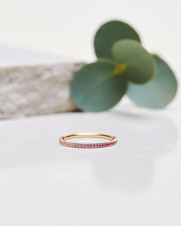 Start Bidding: Jade Petite Ombré Ring with Graded Pink Sapphires