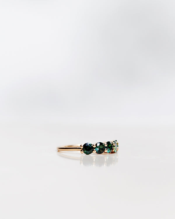 One-Of-A-Kind Angel Ring with Dark Green Tourmalines (1.20 CT)