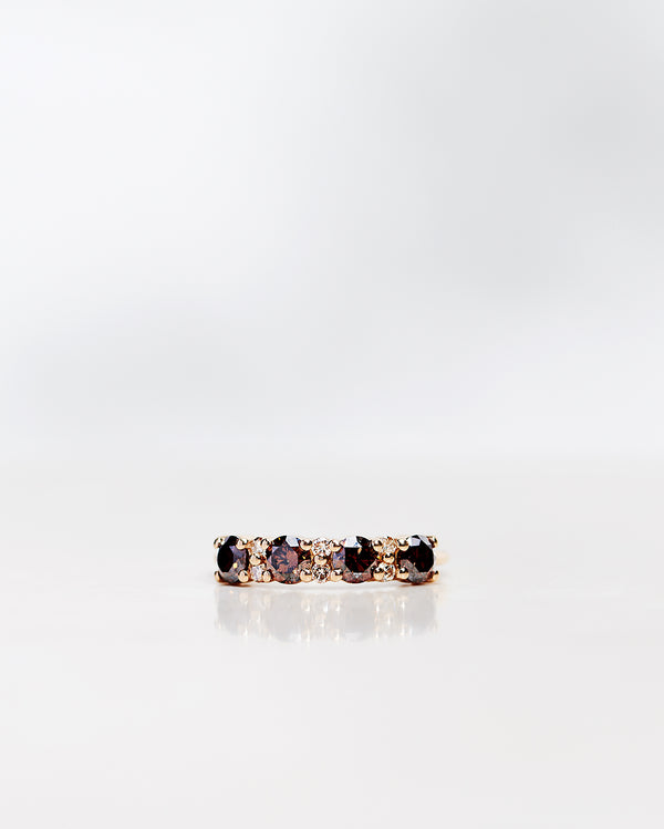 Anita Ring with Dark Chocolate Diamonds and Champagne Brilliants (1.12 CT)
