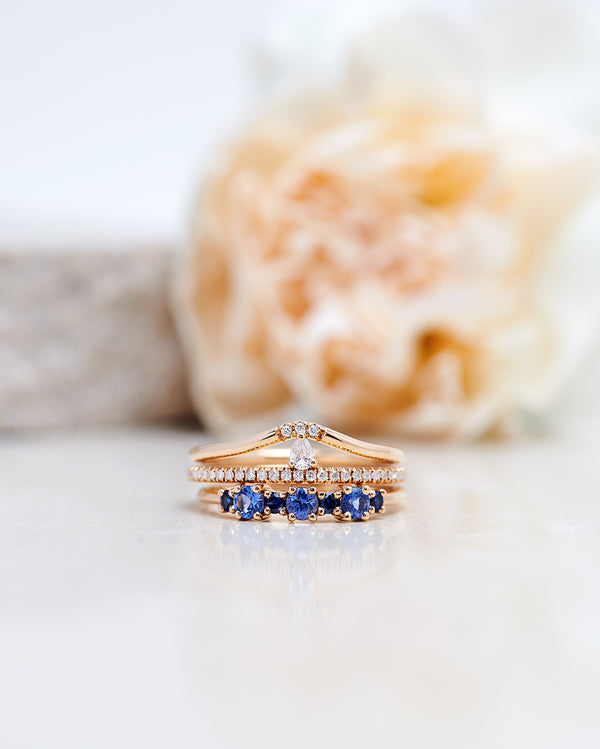 Finished: Brigitte Ring with Light Blue Sapphires & Dark Blue Sapphires