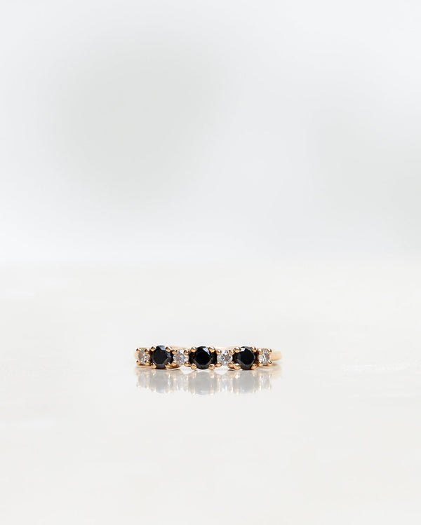 Brigitte Ring with Black and White Diamonds (0.42 CT)