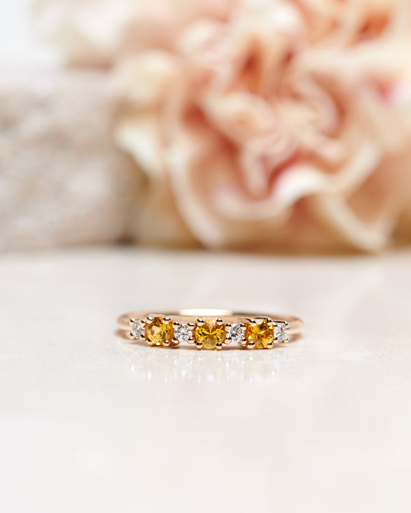 Finished: Brigitte Ring with Yellow Sapphires and Diamonds