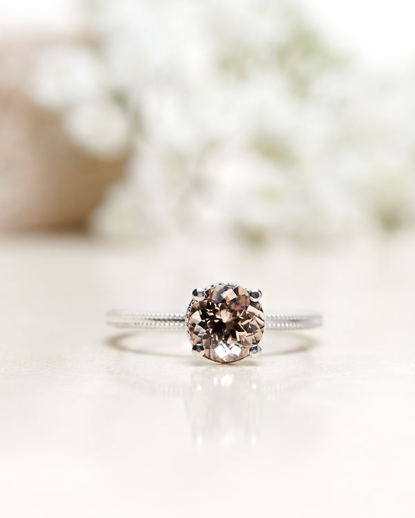 Finished: Vintage Style Solitaire with Chocolate Morganite in White Gold (1.20 CT)