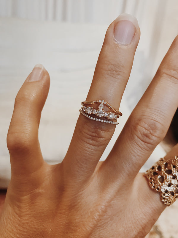 Lily Fallen Drop Ring with Three Brilliant Diamonds