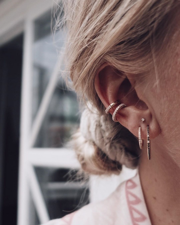 No-Hole Diamond Earcuff (two versions)
