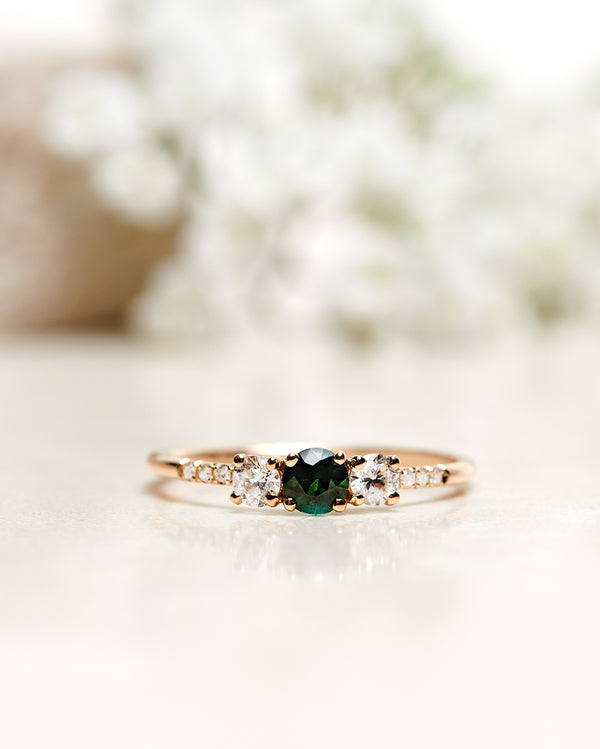 Finished: Unique Edith Ring with A Dark Green Tourmaline and Little Diamond Sparkle (Total 0.50 CT)
