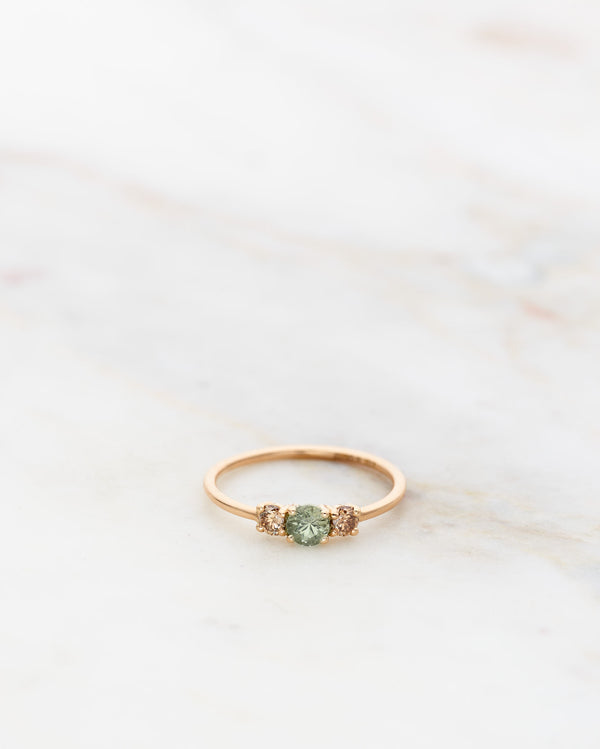 Edith Ring with Olive Green Sapphire and Champagne Diamonds