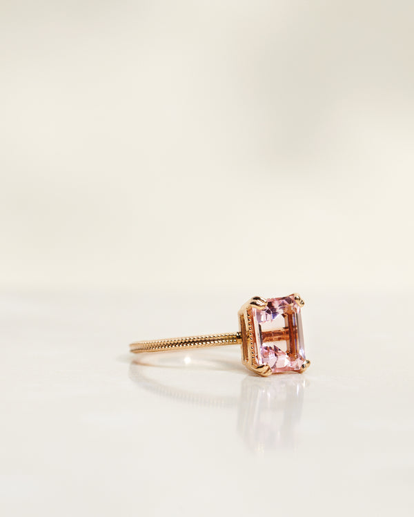 Emerald-Cut Vintage Style Solitaire with Light Pink Morganite 1.4/1.5 CT