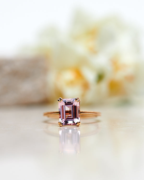 Start Bidding: Emerald-Cut Vintage Style Solitaire with Light Pink Morganite (2 CT)
