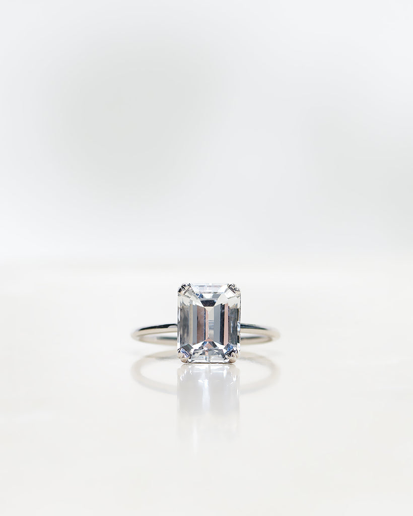 Finished: Emerald-Cut White Topaz Solitaire 4.10 CT