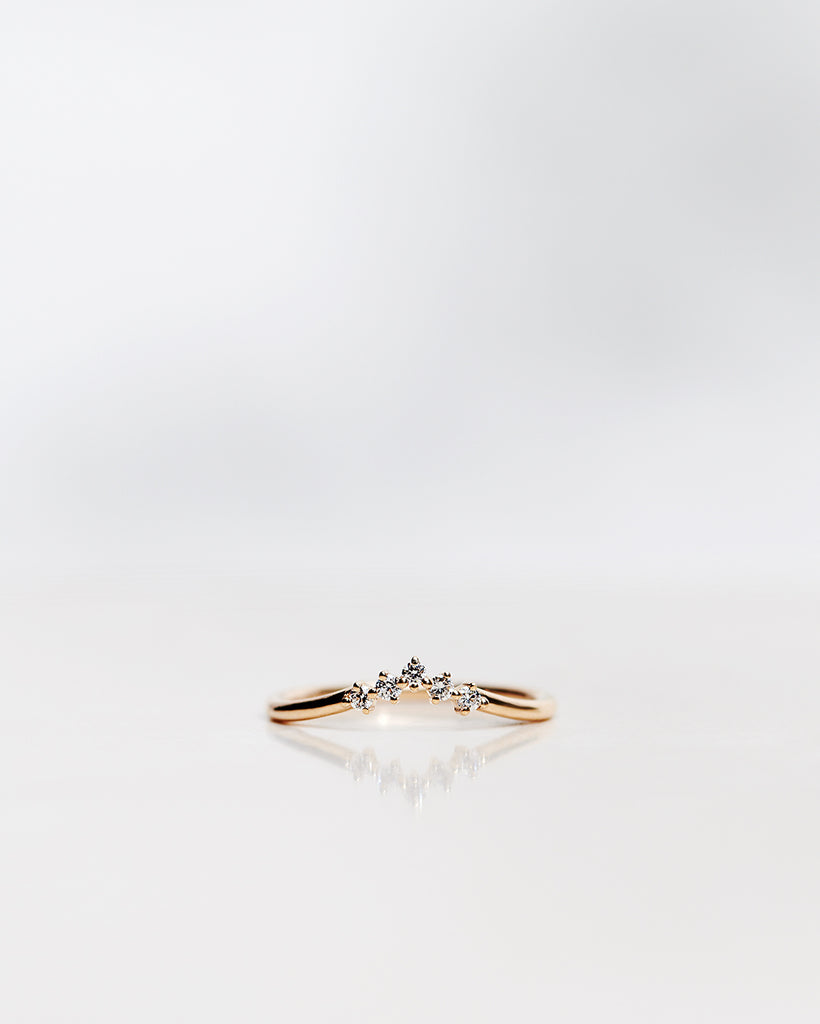 Five Diamond Triangle Ring