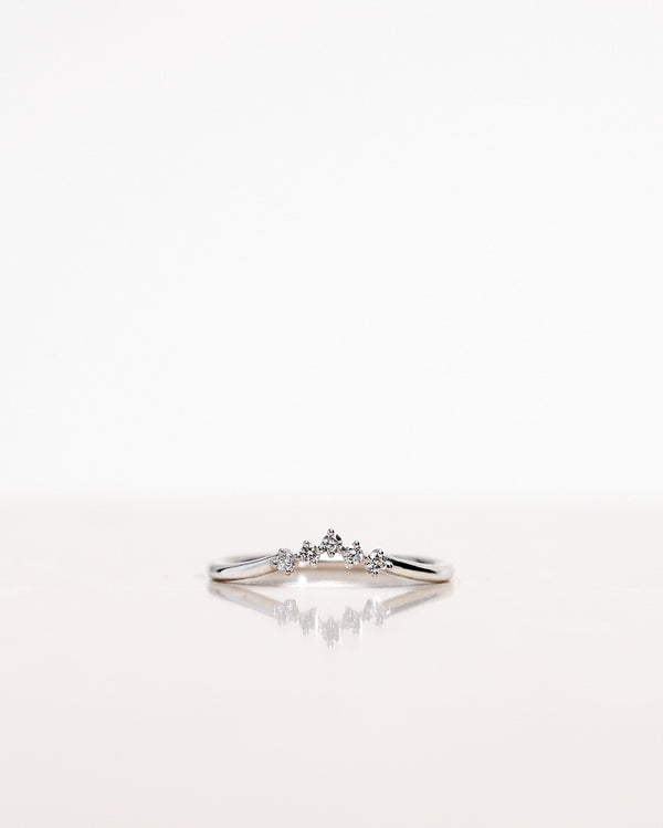 Five Diamond Triangle Ring in White Gold